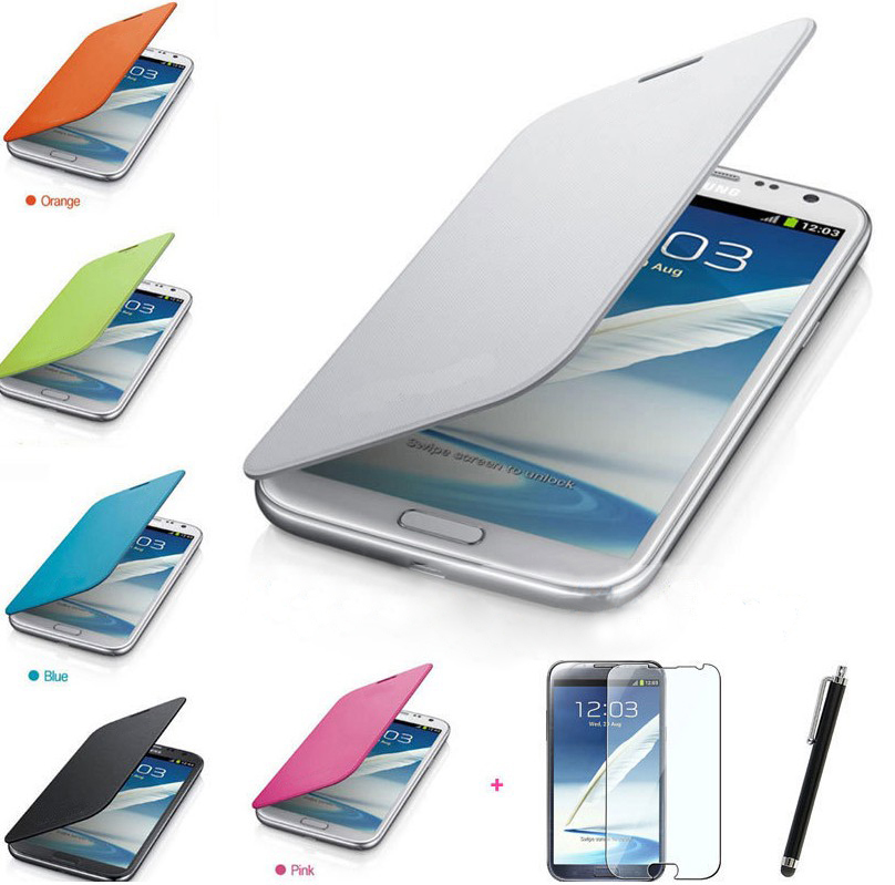 PU Leather Flip Case Cover Stylus Screen Guard for Galaxy Note II 2 N7100