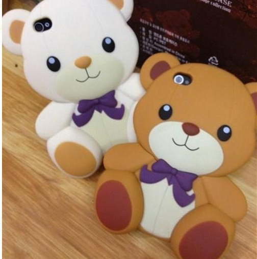 3D Cute Teddy Bear Soft Silicone Back Hard Cover Case Skin For iPhone 4 4G 4S
