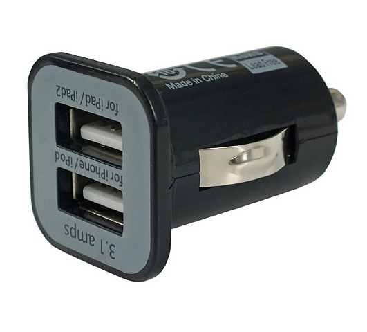 Black 2 Port Dual USB DC Car Charger Adapter Accessory For iPhone 5 4S iPad iPod