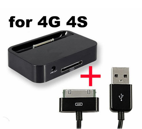 Black Dock Sync Charger Charging Station For iPhone 4/4S/4G + USB Data Cable