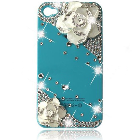 Cute Diamond Bling Metal Flower For iPhone 4 4G 4S Hard Back Protect Case Cover