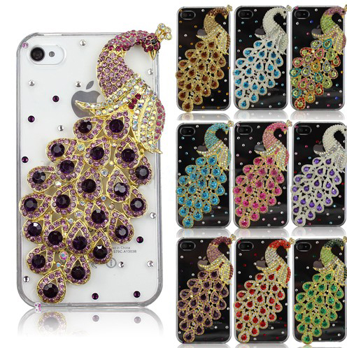 Fashion Crystal Peacock Handmade Diamond Bling Back Case Cover For iPhone 4G 4S
