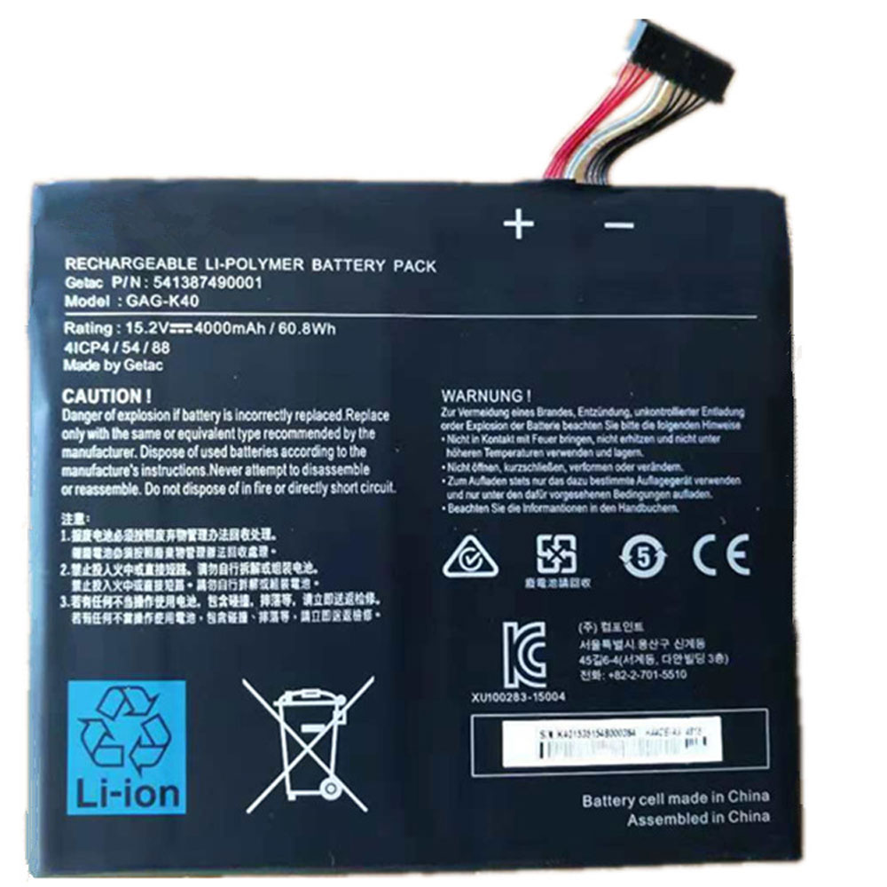 Batterie pour Getac G-Style 4ICP4/54/88 541387490001 Series 60.8Wh/4000mAh